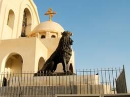 Скульптурные композиции на  Коптской ортодоксальной церкви