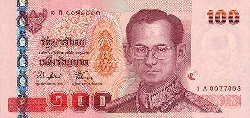 Валюта Таиланда. Банкнота достоинством 100 бат