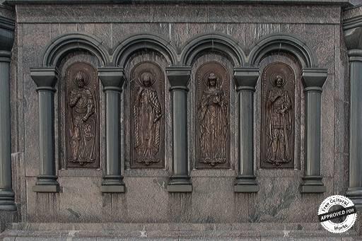 Памятник князю Владимиру и святителю Федору. Барильеф на боковой поверхности постамента памятника