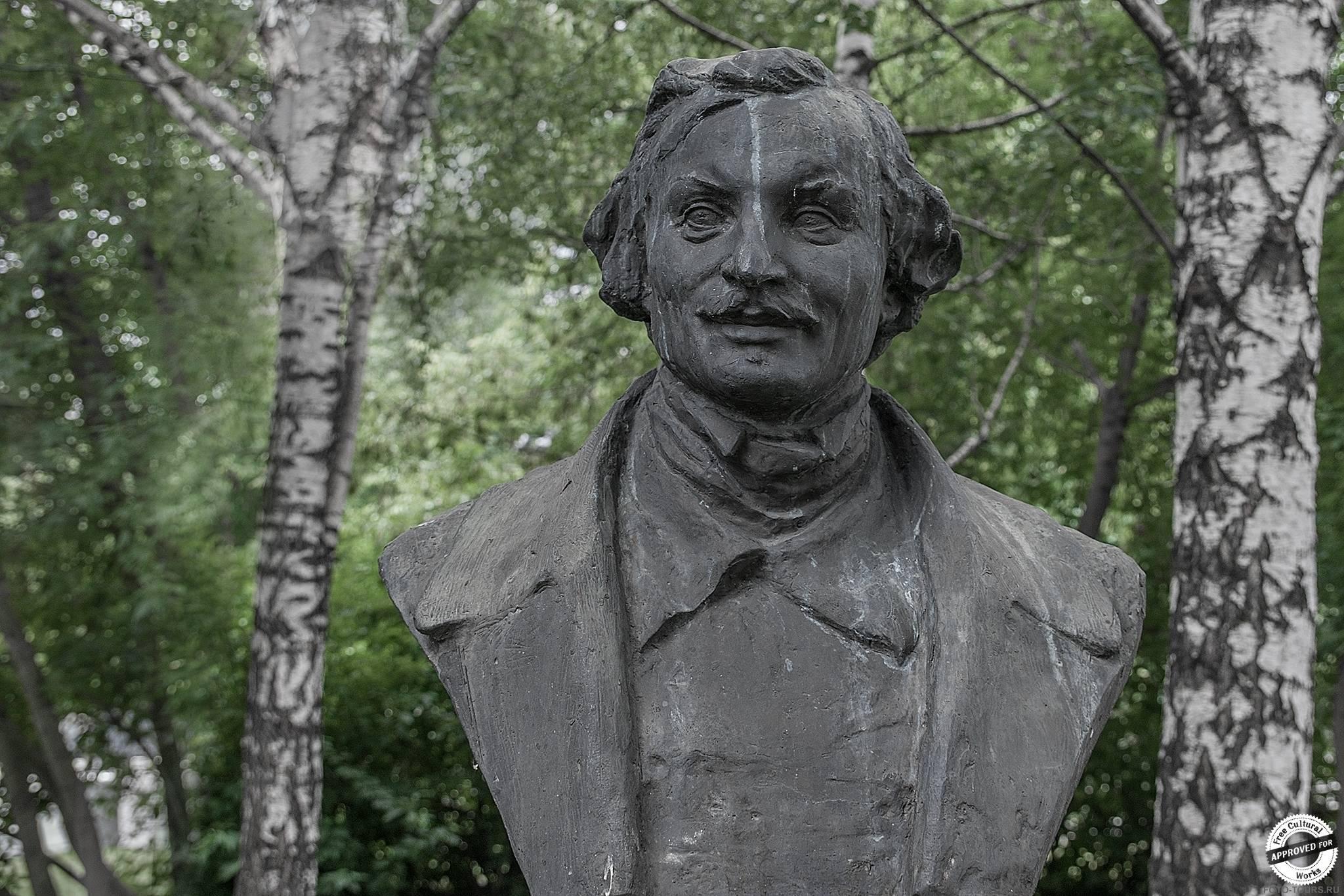 Портрет Гоголя, Виленский З.М. 1937-1950, бронза, Музеон, Парки москвы.